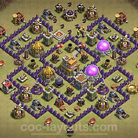 TH7 Anti 3 Stars CWL War Base Plan with Link, Copy Town Hall 7 Design 2021, #44