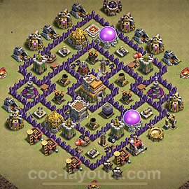 TH7 War Base Plan with Link, Copy Town Hall 7 CWL Design 2021, #45