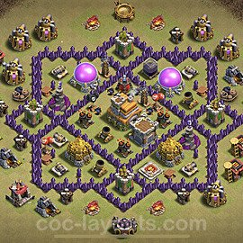 TH7 Anti 2 Stars CWL War Base Plan with Link, Copy Town Hall 7 Design 2021, #46