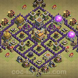 TH7 Anti 3 Stars CWL War Base Plan with Link, Copy Town Hall 7 Design 2021, #47