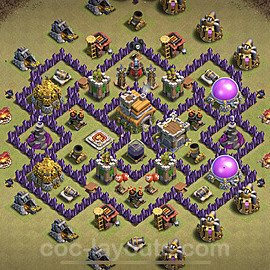 TH7 Anti 3 Stars CWL War Base Plan with Link, Copy Town Hall 7 Design 2021, #49