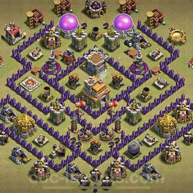 TH7 War Base Plan with Link, Copy Town Hall 7 CWL Design 2021, #51