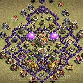 TH7 Anti 3 Stars CWL War Base Plan with Link, Copy Town Hall 7 Design 2021, #52