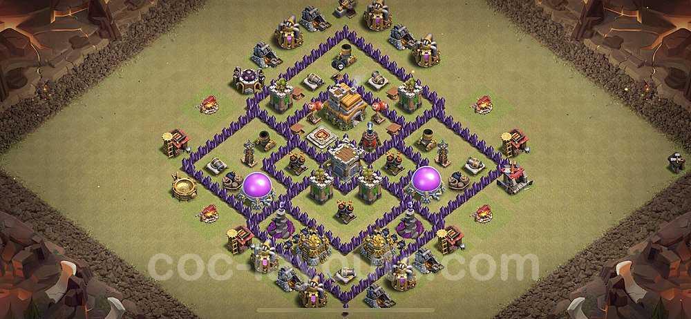 TH7 Anti 2 Stars War Base Plan with Link, Copy Town Hall 7 Design 2021, #31