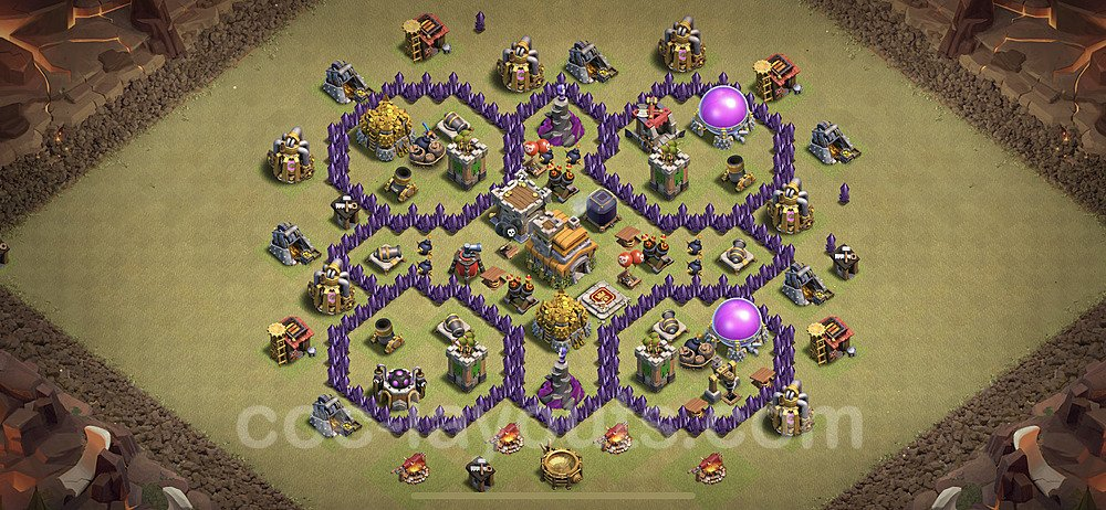 TH7 Anti 2 Stars War Base Plan with Link, Copy Town Hall 7 Design 2021, #37