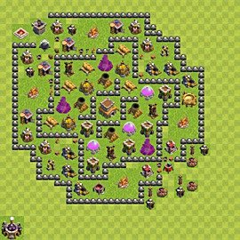 Base plan Town Hall level 8 for trophies (defence) (variant 100)