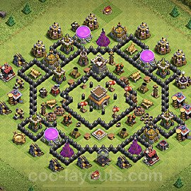 TH8 Anti 2 Stars Base Plan with Link, Copy Town Hall 8 Base Design 2020, #106