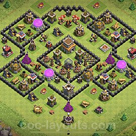 TH8 Trophy Base Plan with Link, Copy Town Hall 8 Base Design 2020, #214