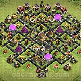 Anti GoWiWi / GoWiPe TH8 Base Plan with Link, Copy Town Hall 8 Design 2020, #216