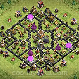TH8 Trophy Base Plan with Link, Copy Town Hall 8 Base Design 2020, #217
