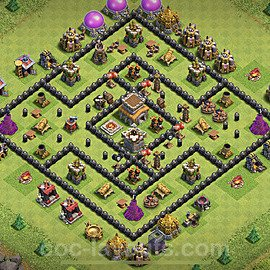 TH8 Anti 2 Stars Base Plan with Link, Copy Town Hall 8 Base Design 2021, #223