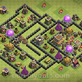 TH8 Trophy Base Plan with Link, Copy Town Hall 8 Base Design 2021, #225