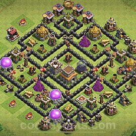 TH8 Anti 3 Stars Base Plan with Link, Copy Town Hall 8 Base Design 2021, #226