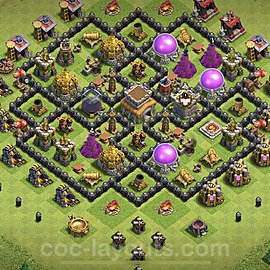 Top TH8 Unbeatable Anti Loot Base Plan with Link, Copy Town Hall 8 Base Design 2021, #235