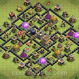 Anti Dragon TH8 Base Plan with Link, Copy Town Hall 8 Anti Air Design 2021, #236