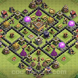 TH8 Trophy Base Plan with Link, Copy Town Hall 8 Base Design 2021, #237