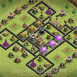 TH8 Anti 3 Stars Base Plan with Link, Copy Town Hall 8 Base Design 2021, #238