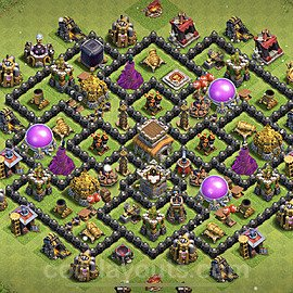 TH8 Anti 2 Stars Base Plan with Link, Copy Town Hall 8 Base Design 2021, #240