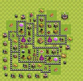 Base plan Town Hall level 8 for trophies (defence) (variant 75)