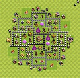 Base plan Town Hall level 8 for trophies (defence) (variant 77)