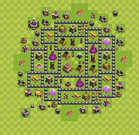 Base plan Town Hall level 8 for trophies (defence) (variant 78)