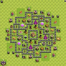 Base plan Town Hall level 8 for trophies (defence) (variant 79)