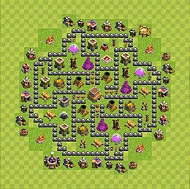 Base plan Town Hall level 8 for trophies (defence) (variant 80)