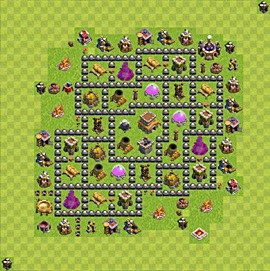 Base plan Town Hall level 8 for trophies (defence) (variant 81)