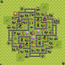 Base plan Town Hall level 8 for trophies (defence) (variant 83)