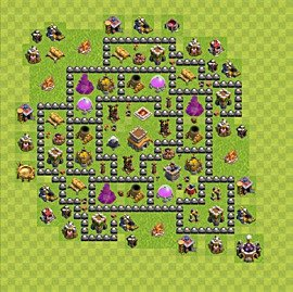 Base plan Town Hall level 8 for trophies (defence) (variant 85)