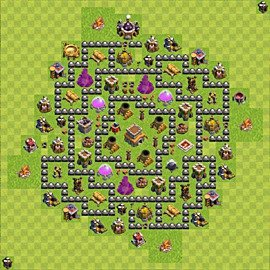 Base plan Town Hall level 8 for trophies (defence) (variant 87)