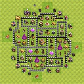 Base plan Town Hall level 8 for trophies (defence) (variant 89)