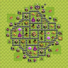 Base plan Town Hall level 8 for trophies (defence) (variant 90)