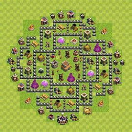 Base plan Town Hall level 8 for trophies (defence) (variant 94)