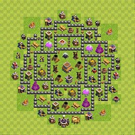 Base plan Town Hall level 8 for trophies (defence) (variant 99)