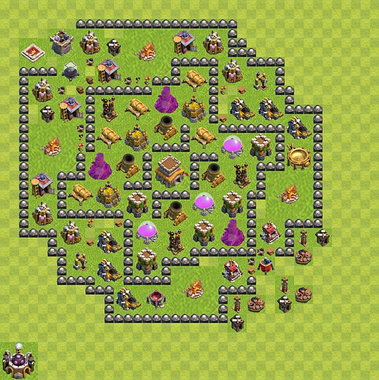Base plan (layout) for trophies collecting TH  8 (Town Hall level 8, TH 8), variant 100