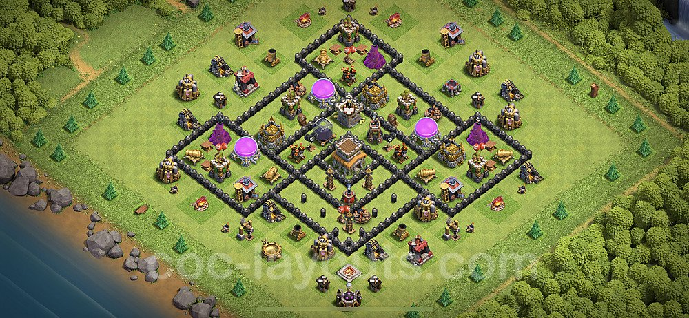 TH8 Anti 3 Stars Base Plan with Link, Copy Town Hall 8 Base Design 2020, #103
