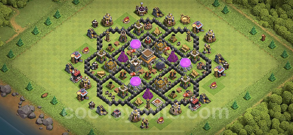 TH8 Anti 2 Stars Base Plan with Link, Copy Town Hall 8 Base Design 2020, #107
