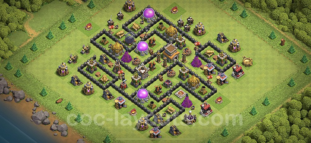 TH8 Trophy Base Plan with Link, Copy Town Hall 8 Base Design 2020, #213