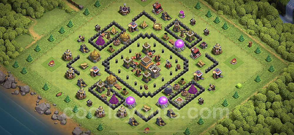 Top TH8 Unbeatable Anti Loot Base Plan with Link, Copy Town Hall 8 Base Design 2020, #221