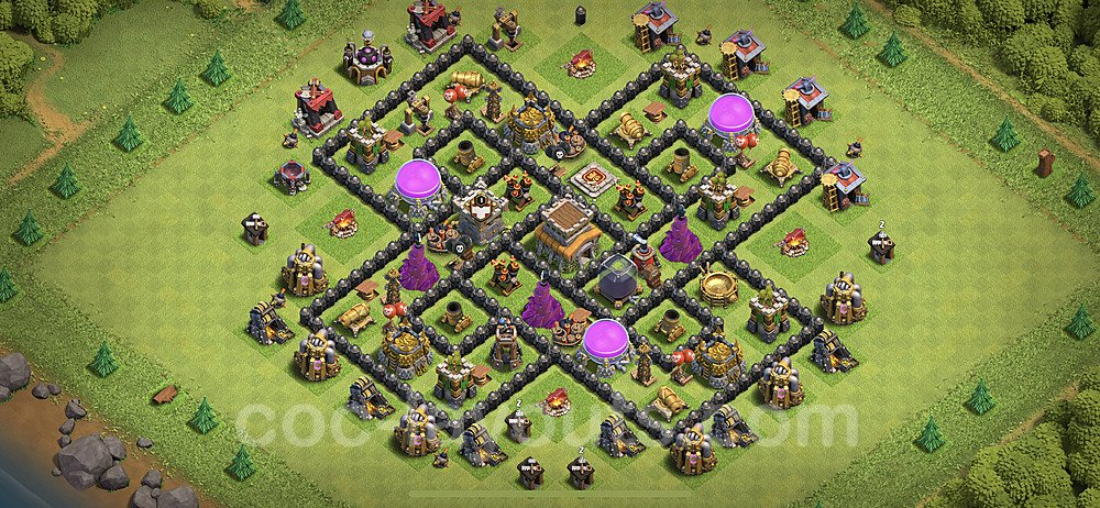 TH8 Trophy Base Plan with Link, Copy Town Hall 8 Base Design 2020, #227