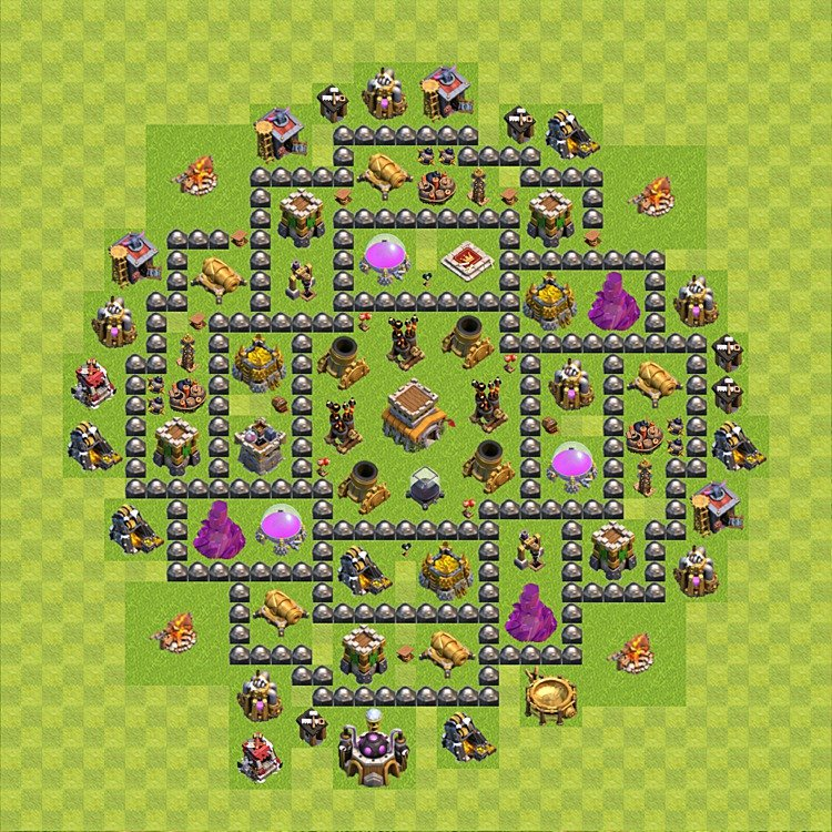 Base layout (plan) for trophies (Town Hall defence), Town Hall level 8