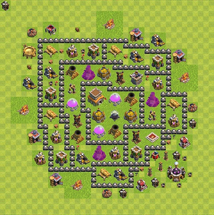 Base plan (layout) for trophies collecting TH  8 (Town Hall level 8, TH 8), variant 93