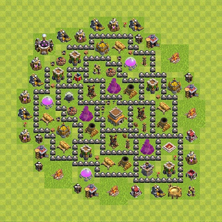 Base plan (layout) for trophies collecting TH  8 (Town Hall level 8, TH 8), variant 96