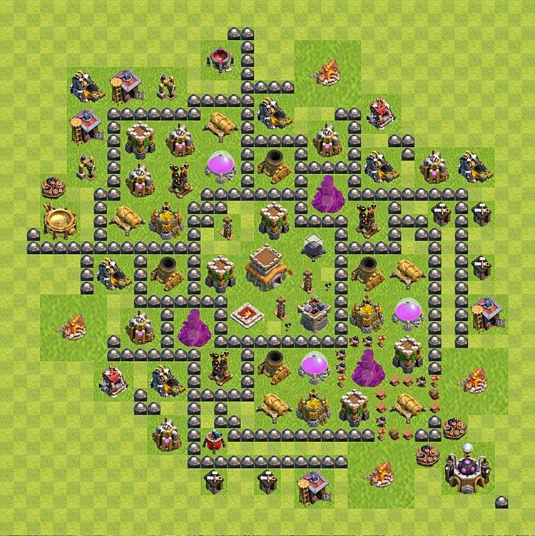 Base plan (layout) for trophies collecting TH  8 (Town Hall level 8, TH 8), variant 97