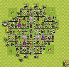 Base plan Town Hall level 8 for farming (variant 1)