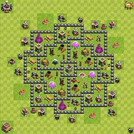 Base plan Town Hall level 8 for farming (variant 103)
