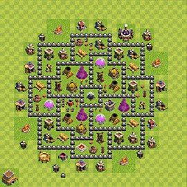 Base plan Town Hall level 8 for farming (variant 104)