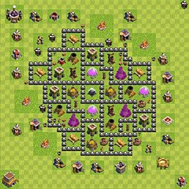 Base plan Town Hall level 8 for farming (variant 105)