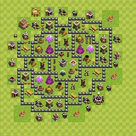 Base plan Town Hall level 8 for farming (variant 106)
